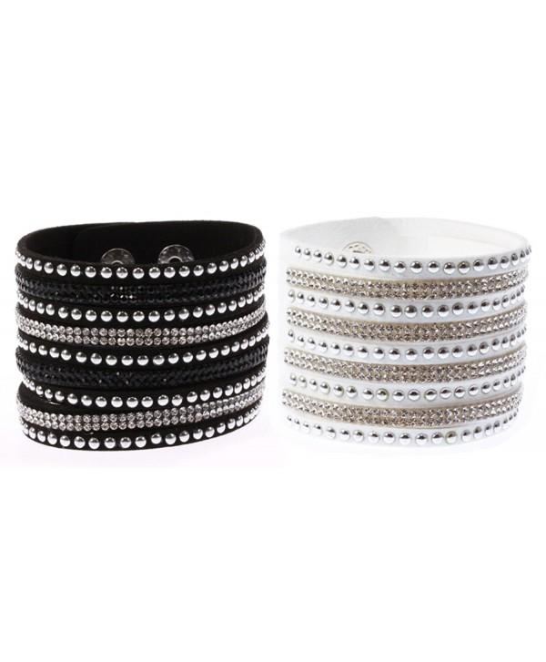 Finov Multi-layer Wristband Velvet Wrap Bracelet with Rhinestones Rivets - Black White - CE12MAKO4T7