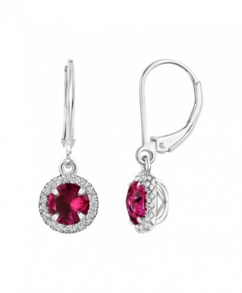 Sterling Silver Round Gemstone and Created White Sapphire Halo Leverback Dangle Earrings - Created Ruby - CS12NQZ43XD