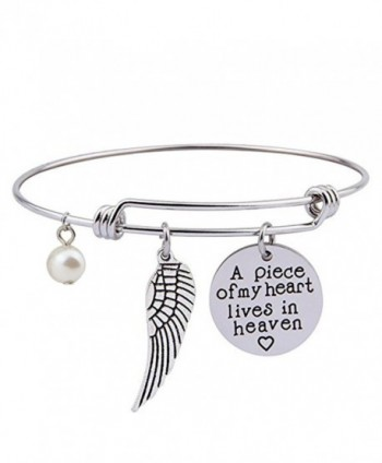 Gzrlyf A Piece Of My Heart Is In Heaven Jewelry Memorial Bracelet Necklace Sympathy Jewelry - CD186YKA0IY