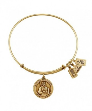Wind & Fire Saint Jude Medal Gold Finish Charm Bangle - CQ11VQM8LR7