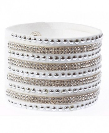 Finov Rhinestones Leather Wristband Bracelet in Women's Bangle Bracelets