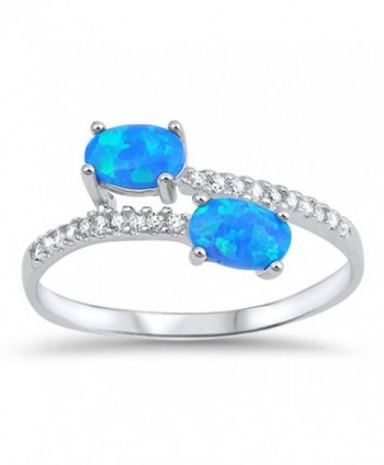CHOOSE YOUR COLOR Sterling Silver Oval Ring - Blue Simulated Opal - CV12MX97R7O