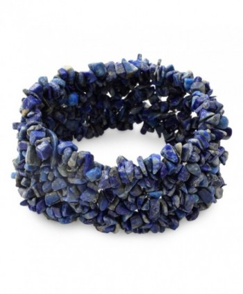 "NOVICA Lapis Lazuli Indigo Blue Gemstone Beaded Stretch Bracelet- 6.25""- 'Mermaid Song' - C911GBUGNC9"