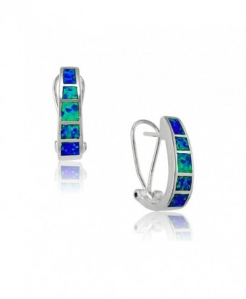 Sterling Silver Created Blue Opal Half-Hoop Striped Earrings - C712369NY2J