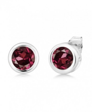 2.00 Ct Round Red Rhodolite Garnet Sterling Silver bezel - Earrings 6mm - C3117O1YKFL