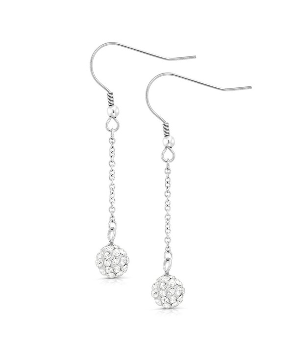 1.75 Inch 8mm White Pave Crystal Disco Ball Dangle Earrings - CQ116QIQGBT
