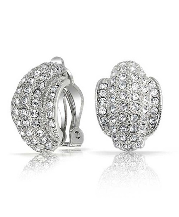 Bling Jewelry 6 Row Clear Crystal Half Hoop Clip On Earrings Rhodium Plated Brass - C7118L0HISZ