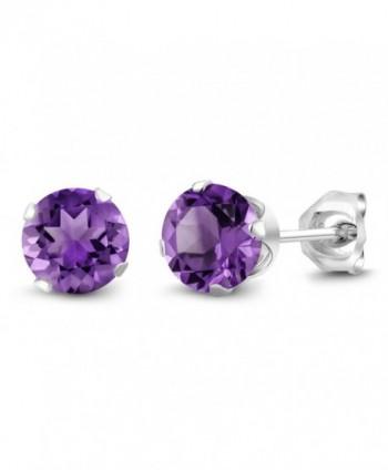 Sterling Silver Round Purple Amethyst Women's Stud Earrings 6mm 1.50 Carat Total Weight - CW115U4LOWV