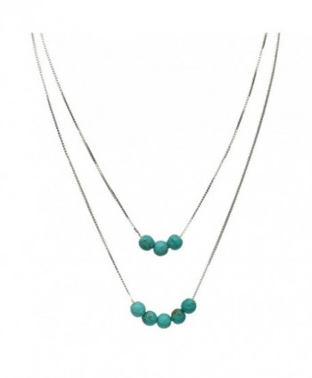 2-Strand Simulated Turquoise Stone Beads Sterling Silver Box Chain Necklace - CY1221IZAGN