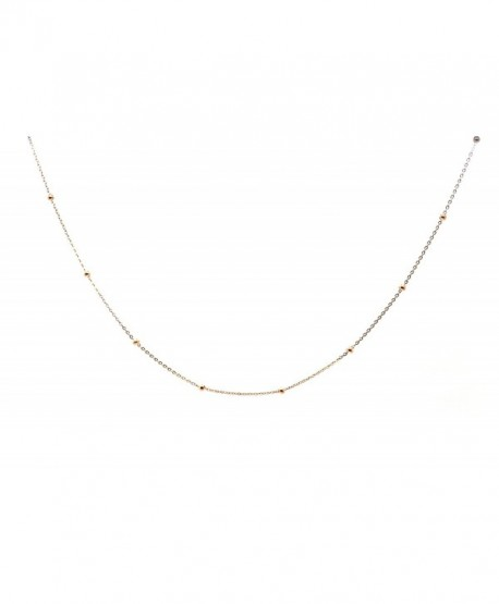 Chelsea Jewelry Basic Collections 1.2mm Wide 18K Rose Gold Ultra Thin Cable Chain With Beads Chain Necklace - C412C5CQT1V