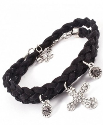 Bohemian Love Colorful Leather Braided Cord Crystal Cross Charm Wrap Bracelet - Black - C911LC49IIP