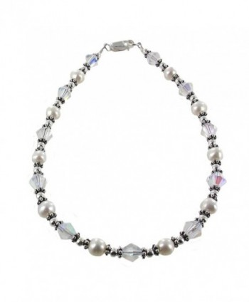 Womens Genuine Fresh Water Cultured Pearls- Clear Bicone Crystal & Sterling Anklet with Daisies - CC11CPAL9P9