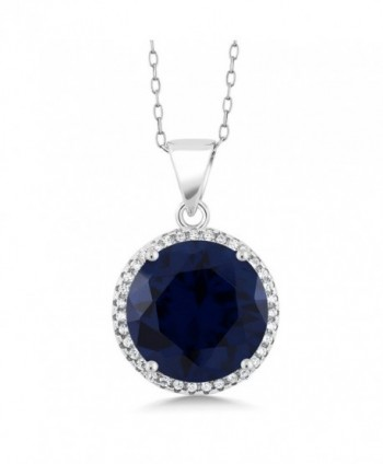 9.00 Ct Round Blue Simulated Sapphire 925 Sterling Silver Pendant Necklace with 18 Inch Chain - CU11PWEK82V