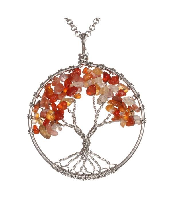Gemstone Necklace BRCbeads Carnelian Stainless - Red Agate/Carnelian - CI12NEPB9FG