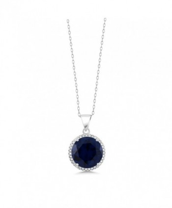 Simulated Sapphire Sterling Pendant Necklace
