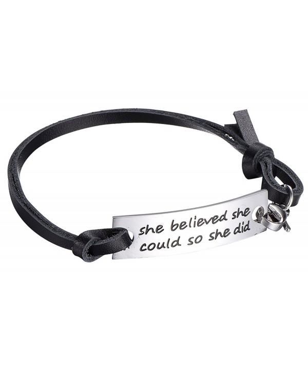 Inspirational Leather Stainless Bracelet Believed - C512J37EPXF