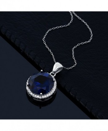 Simulated Sapphire Sterling Pendant Necklace in Women's Pendants
