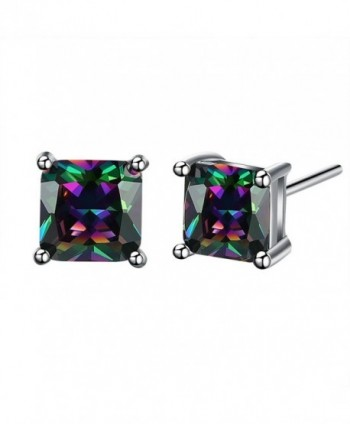 18K White Gold Plated Multicolor Black Cubic Zirconia Stud Earrings for Women Teen Girls Jewelry - . - CX17AZGN57H
