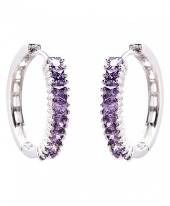 FC JORY White Gold GP Prong Princess CZ Cubic Zirconia Purple Hoop Dangle Earrings - CZ12201L5JN
