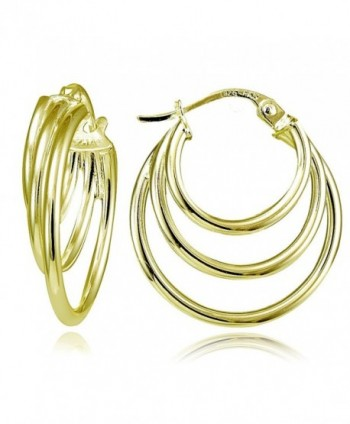Hoops & Loops Yellow Gold Flash Sterling Silver Triple Round Hoop Earrings - CF12F5E8DJR
