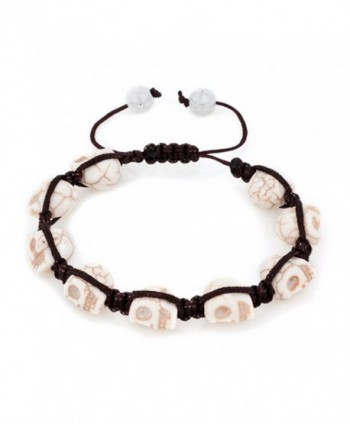 LilyJewelry Halloween Skull Beaded Adjustable Bracelet - White - CG184AD68G7