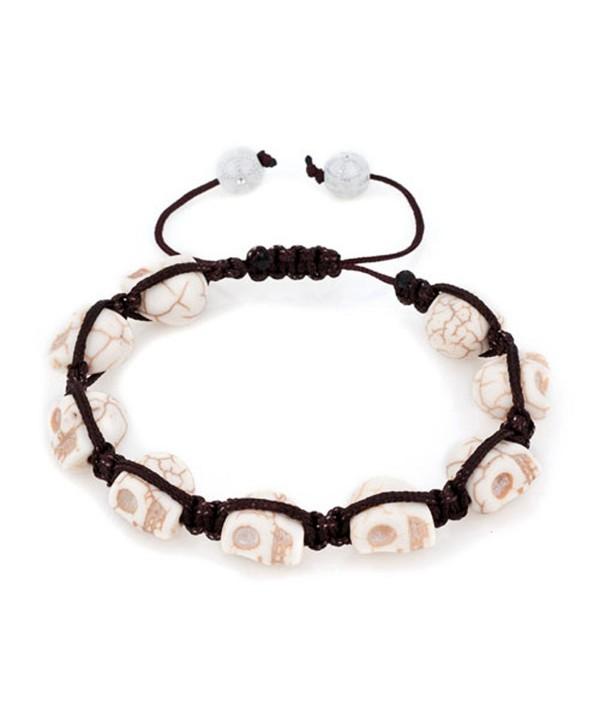 LilyJewelry Halloween Skull Beaded Adjustable Bracelet - White - CG184AD68G7