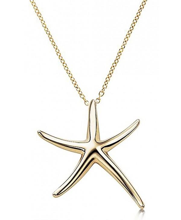 """Starfish Pendant Necklace .925 Sterling Silver Celebrity Designer Style Gold Tone 16"""" - 18"""" Inches - CF11OCEWS7Z"""