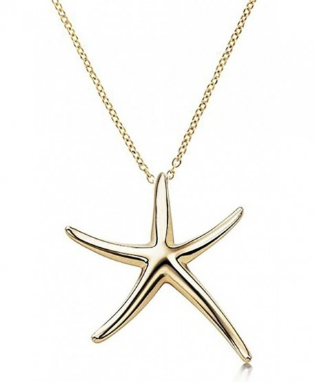 "Starfish Pendant Necklace .925 Sterling Silver Celebrity Designer Style Gold Tone 16"" - 18"" Inches - CF11OCEWS7Z"