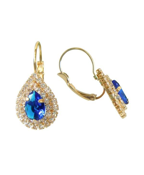 Navachi 18k Gold Plated water Drop Blue Zircon Crystal Az2678e leverback Earrings - CG129WNU3QD