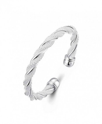 Nevaeh Bracelet 925 Sterling Silver Plated Adjustable Cuff Bangle Bracelet for Women Silver Bangle Bracelet - CW186TM3HZ6