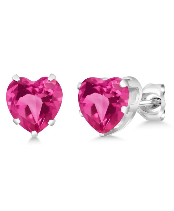 4.86 Ct Heart Shape 8mm Pink Created Sapphire 925 Sterling Silver Stud Earrings - CT11NNNW0FL