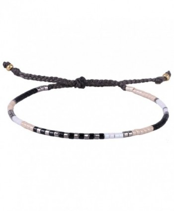 KELITCH Multicolor Crystal Shell Beaded Friendship Bracelets Hand Woven New Jewelry - Black White - CV17YH0OIW9