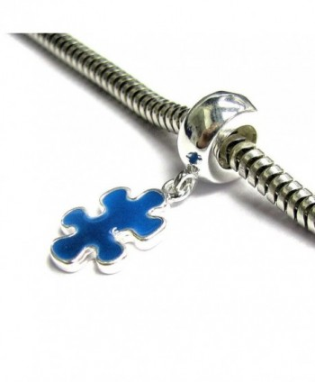 925 Sterling Silver Autism Awareness Jigsaw Puzzle Blue Enamel Dangle For European Charm Bracelets - CP11KMD1CZJ