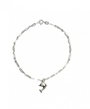 Sterling Silver Dolphin Charm Anklet Italy - CT128V8GNNR