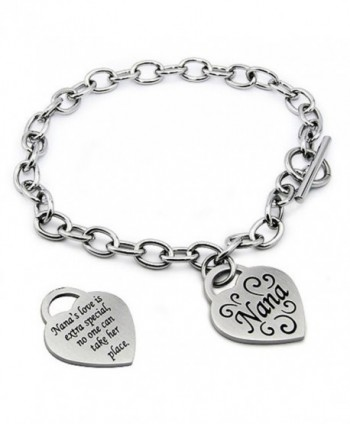 Stainless Steel I Love Nana Heart Tag Charm Bracelet- 7.5 Inches - C911683LFQ3