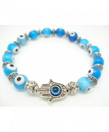 8mm Ocean Blue Turkey Evil Eye Protection Bracelet Hamsa Hand Sold 1pc - CZ11GT2OS71