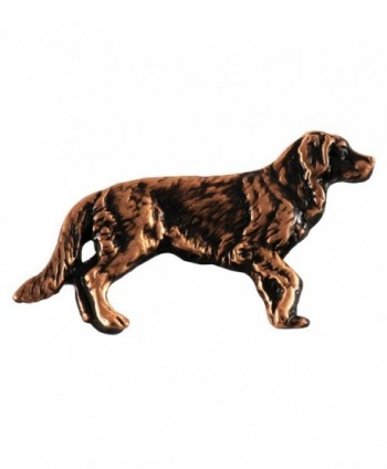 Creative Pewter Designs- Pewter Full Body Golden Retriever Handcrafted Dog Lapel Pin Brooch- D390F - C8122Y9GEP1