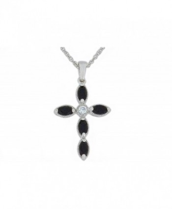 1 Ct Genuine Black Onyx Cross Pendant .925 Sterling Silver Rhodium Finish - CR11OZDY7O5