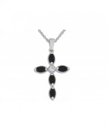 1 Ct Genuine Black Onyx Cross Pendant .925 Sterling Silver Rhodium Finish - CR11OZDY7O5