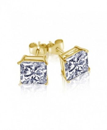 Gold Overlay Princess Cut Stud Unisex Earrings CZ 925 Sterling Silver Cubic Zirconia 3 CT - CX12EYL3D51