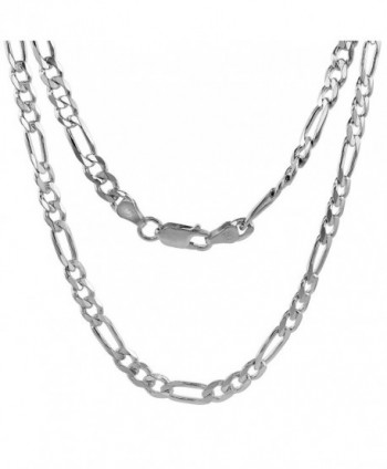 Sterling Silver 1mm - 9mm Figaro Chain Necklace Beveled Edges Nickel Free Italy - CP112HFEUXB