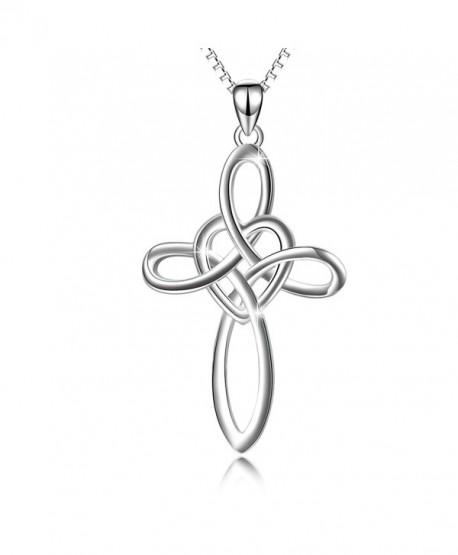 YFN Infinity Sign Jewelry 925 Sterling Silver Eternal Love Heart Celtic Knot Cross Pendant Necklace - CJ17YGUIXQ2