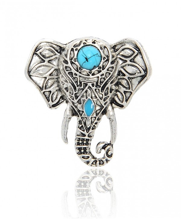 Cyntan Vintage Elephant Pendent Necklace Animal Ring Jewelry For Women Silver Tone - Ring - CP1868SZOY2