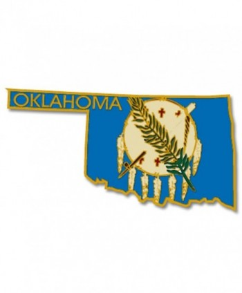 PinMart's State Shape of Oklahoma and Oklahoma Flag Lapel PinPin - CX119PEKWNJ