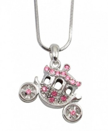 Silver Tone Crystal 3D Princess Pumpkin Carriage FairyTale Charm Necklace Girls- Teens- Women Gift - Pink - CD11O6A9GVZ