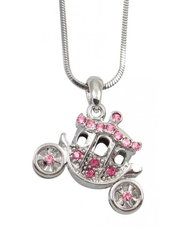 Silver Tone Crystal 3D Princess Pumpkin Carriage FairyTale Charm Necklace Girls- Teens- Women Gift - Pink - CD11O6A9GVZ