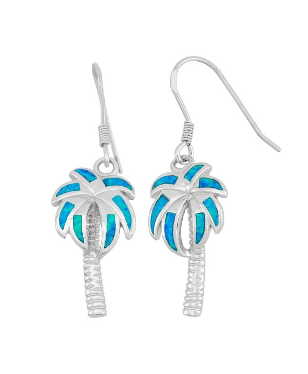 Sterling Silver Created Opal Palm Tree Earrings - Blue - C2118NROEGZ