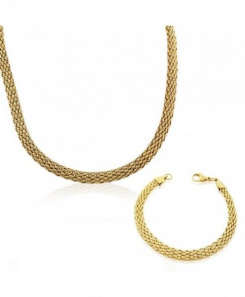 EDFORCE Stainless Steel Yellow Gold-Tone Caviar Chain Womens Necklace Bracelet Set - CK11LVX1MXV