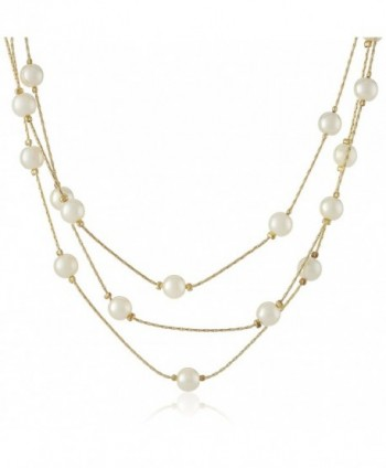 "Signature 1928 ""Collection"" Adjustable Strandage Necklace- 16"" - Gold-Tone/White Pearl - C611J75FBOL"