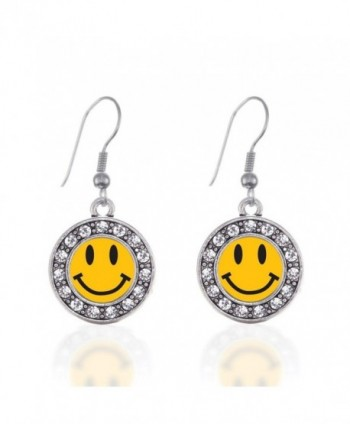 Smiley Face Circle Charm Earrings French Hook Clear Crystal Rhinestones - C3124BUURGX